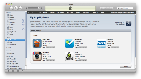iTunes Apps with Free upgrades