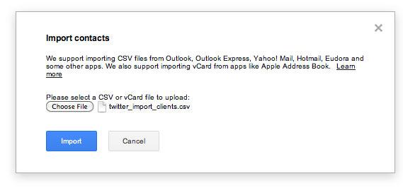 Gmail CSV import