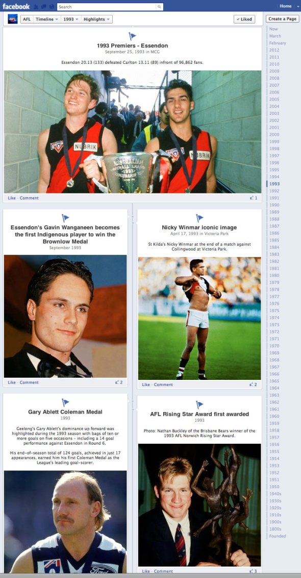 AFL Facebook Timeline from 1993