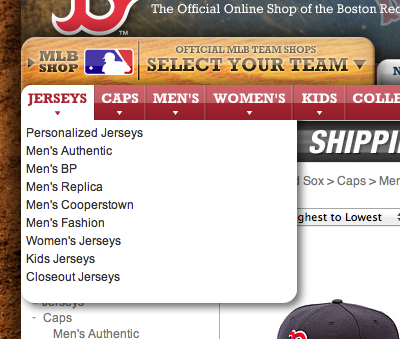 Team shop category menu