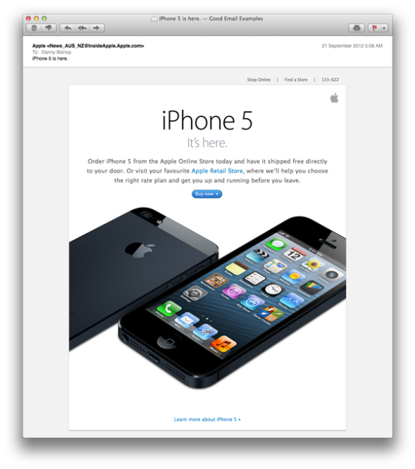 Apple iPhone5 launch email