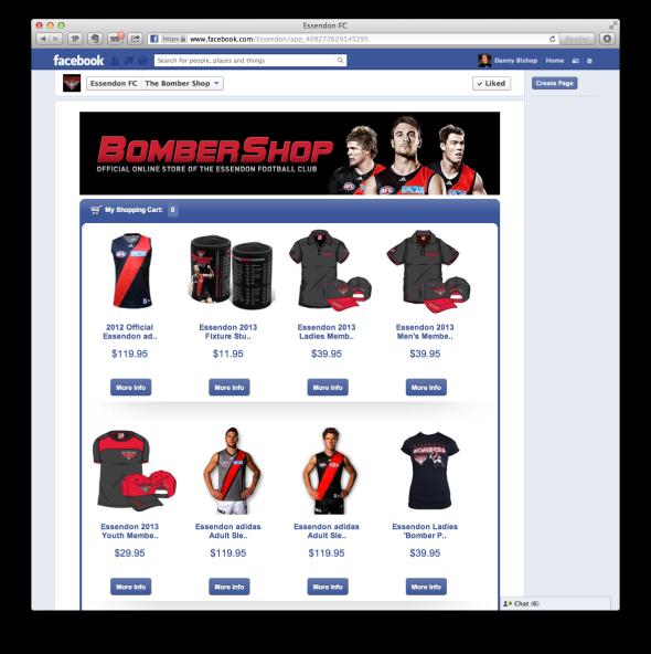 Essendon Football Club's Facebook Shop