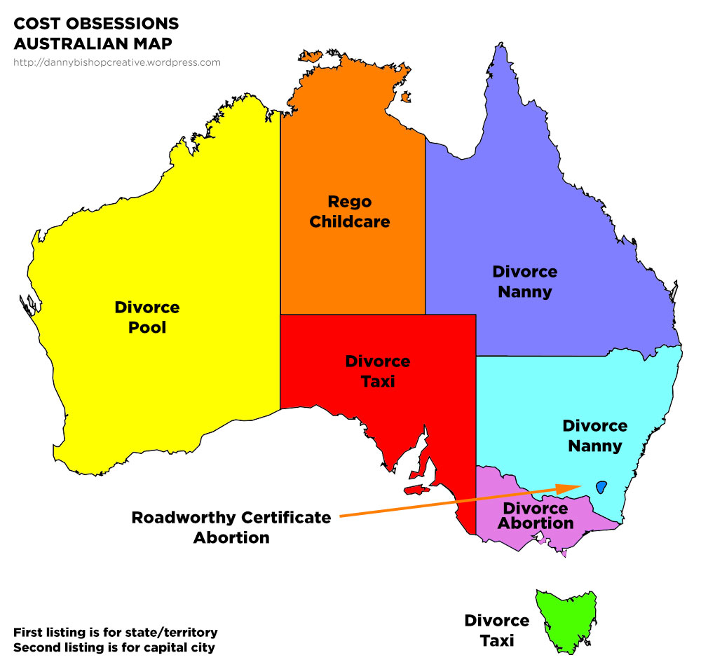 Map Of Australia Showing States And Capital Cities.What Cost Each Australian State Territory Is Obsessed With